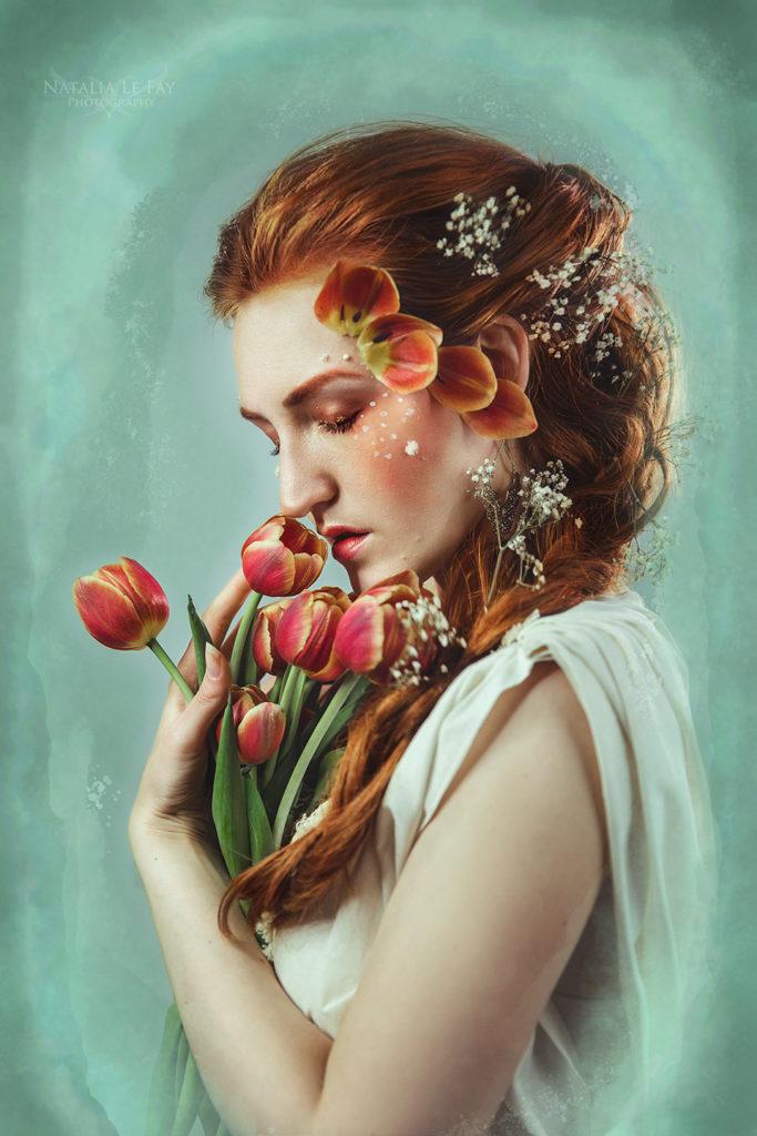 Selbstporträt Blumen Tulpen Frühlingsfoto